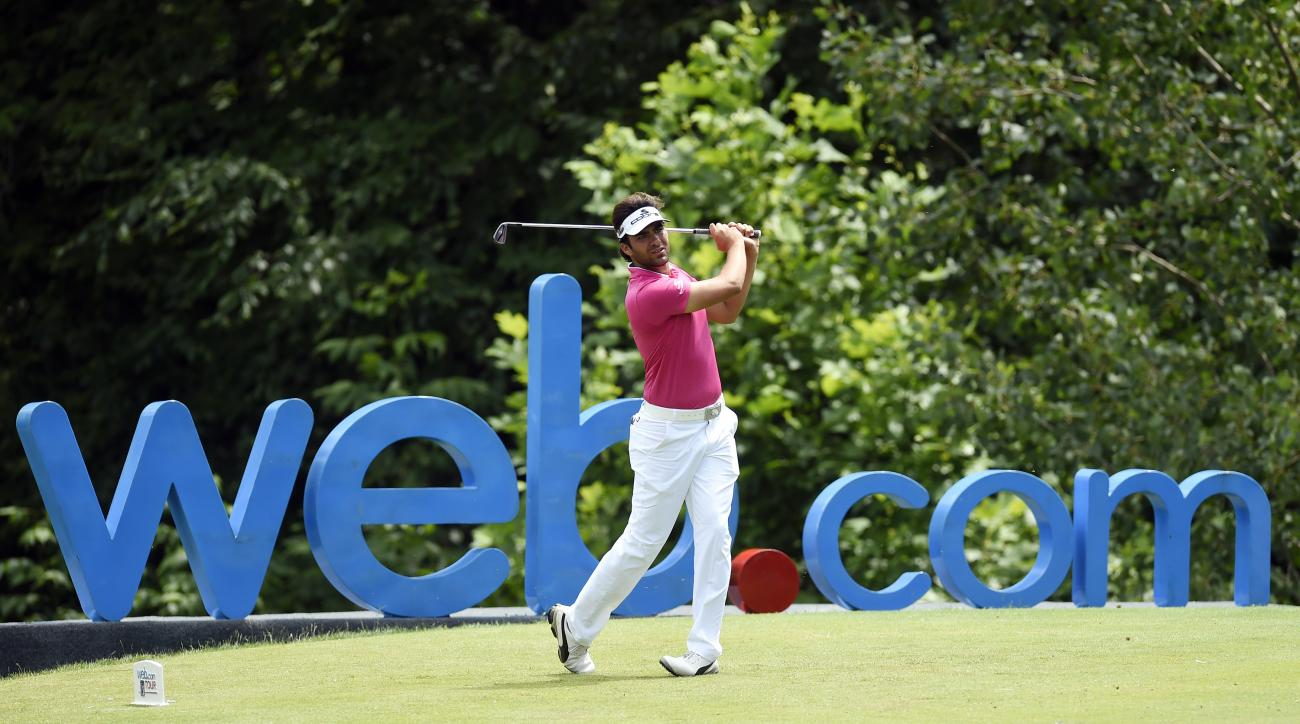 Curtis Thompson tees off on the 16th hole during the third round of the Web.com-LECOM Health Challenge golf tournament at Peek 'n Peak Resort's Upper Course, Saturday, July 9, 2016, in Findley Lake, N.Y. (Andy Colwell/Erie Times-News via AP)