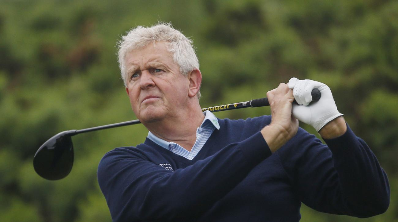 Scotland's Colin Montgomerie during a practice round at the British Open Golf Championship at the Royal Troon Golf Club in Troon, Scotland, Monday July 11, 2016. (Danny Lawson/PA via AP)
