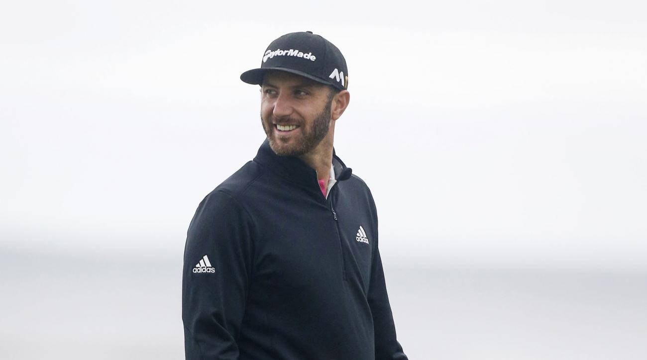 Dustin Johnson of the U.S during a practice round at the British Open Golf Championship at the Royal Troon Golf Club in Troon, Scotland, Monday July 11, 2016. (Danny Lawson/PA via AP)