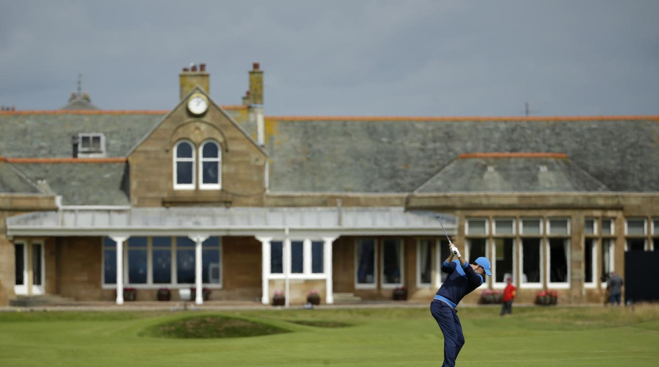 Rory McIlroy of Northern Ireland plays his shot to the 18th green during a practice round for the British Open Golf Championships at the Royal Troon Golf Club in Troon, Scotland, Tuesday, July 12, 2016. (AP Photo/Matt Dunham)
