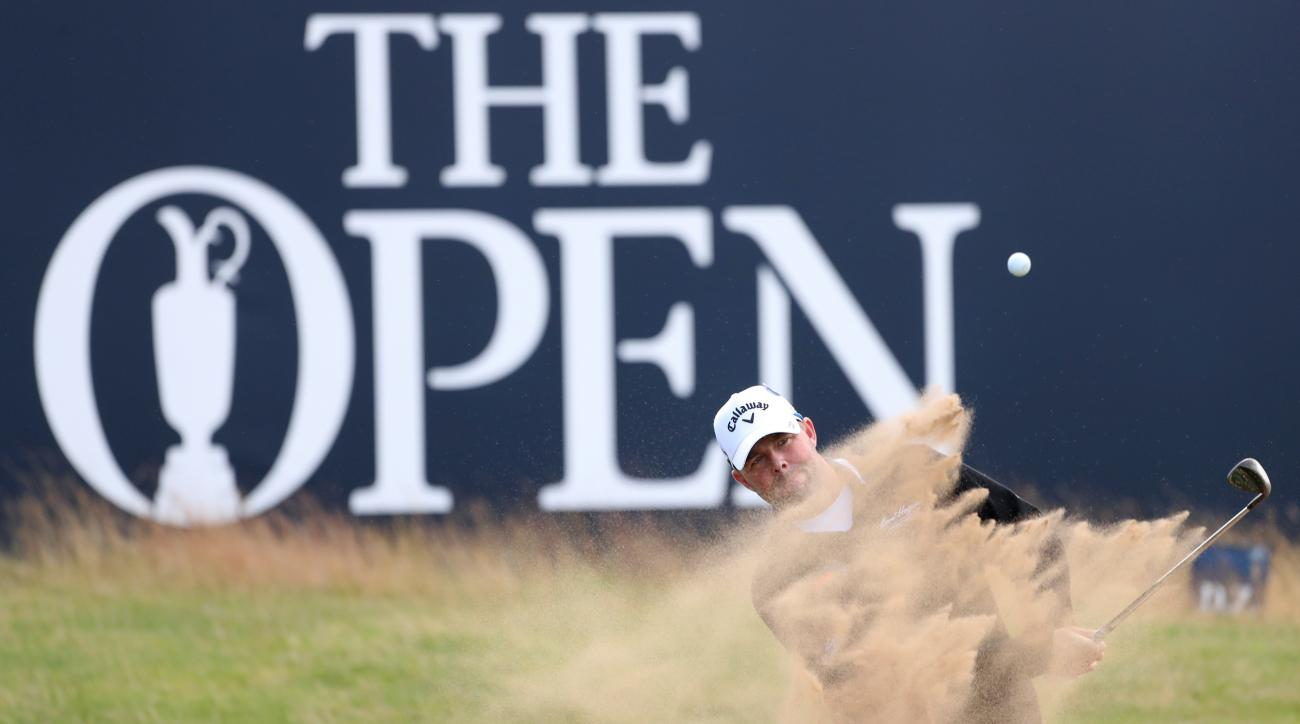 Marc Leishman of Australia plays out on a sand trap on the 18th green during a practice round ahead of the British Open Golf Championship at the Royal Troon Golf Club in Troon, Scotland, Wednesday, July 13, 2016. The British Open starts Thursday.(AP Photo
