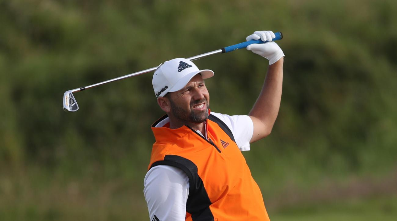 Sergio Garcia of Spain reacts after hitting his second shot on the 15th hole during the first round of the British Open Golf Championship at the Royal Troon Golf Club in Troon, Scotland, Thursday, July 14, 2016. (AP Photo/Peter Morrison)