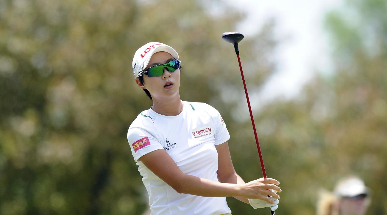 Hyo Joo Kim, of South Korea, hits from the second tee during the final round of the LPGA Volvik Championship golf tournament at the Travis Pointe Country Club, Sunday, May 29, 2016 in Ann Arbor, Mich. (AP Photo/Jose Juarez)