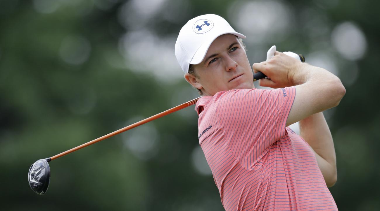 FILE - In this July 1, 2016, file photo, Jordan Spieth tees off on the third hole during the second round of the Bridgestone Invitational golf tournament at Firestone Country Club in Akron, Ohio. Heading into the PGA Championship the last week of July,  S