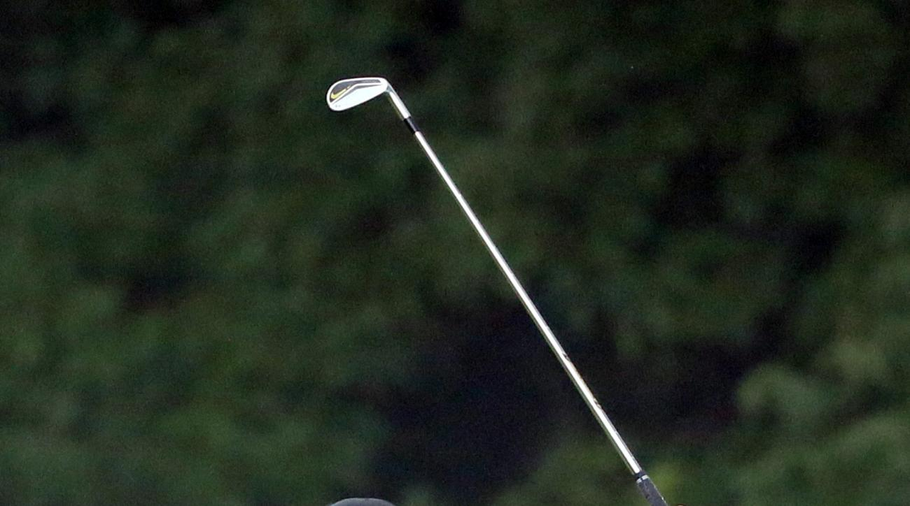 Brooks Koepka watches his approach shot on the second hole during the third round of the PGA Championship golf tournament at Baltusrol Golf Club in Springfield, N.J., Sunday, July 31, 2016. (AP Photo/Tony Gutierrez)