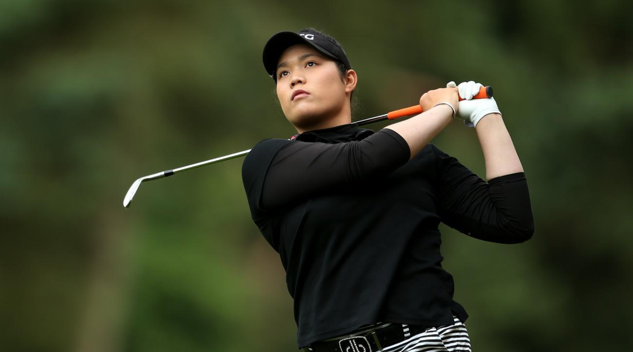 Thailand's Ariya Jutanugarn in action during day four of the Women's British Open at Woburn Golf Club, Woburn, England, Sunday July 31, 2016. (Steve Paston  / PA via AP)