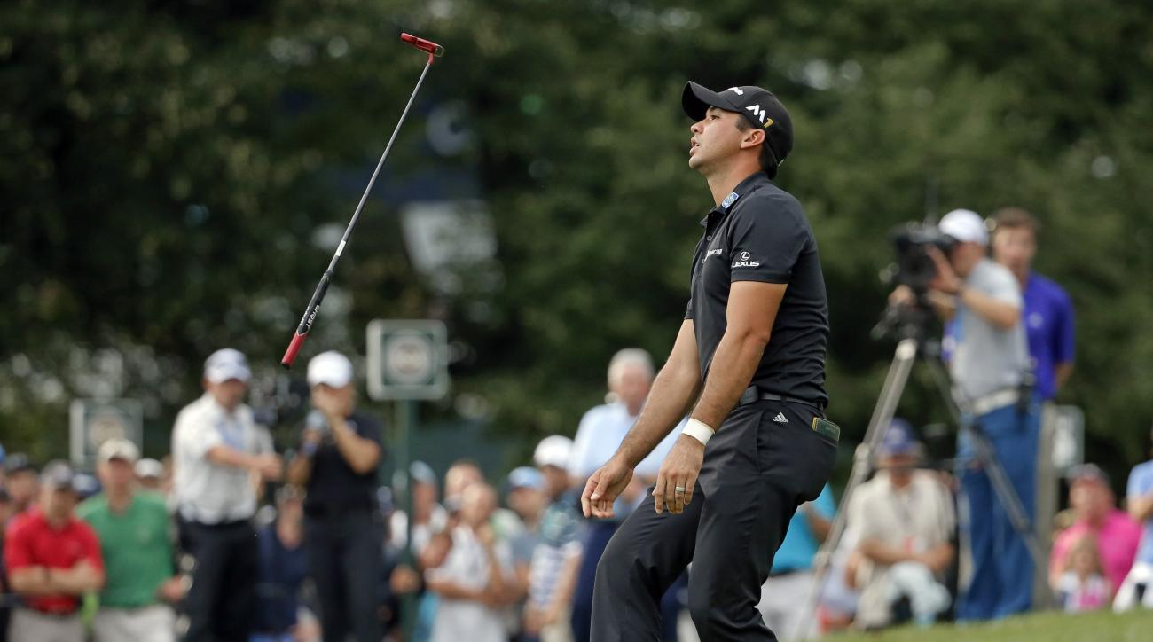 Jason Day reacts after missing a putt on the 14th hole during the final round of the PGA Championship golf tournament at Baltusrol Golf Club in Springfield, N.J., Sunday, July 31, 2016. (AP Photo/Tony Gutierrez)