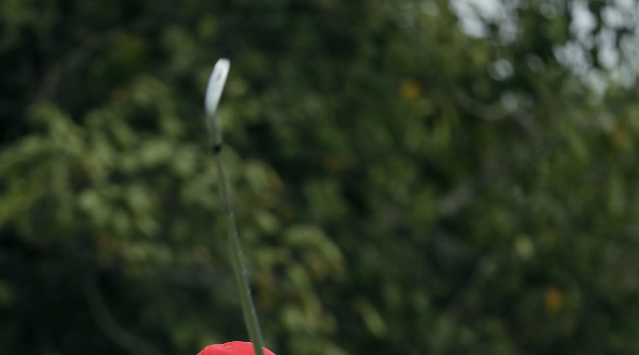 Danny Willett of Great Britain, tees on the 4th hole during the third round of the men's golf event at the 2016 Summer Olympics in Rio de Janeiro, Brazil, Saturday, Aug. 13, 2016. (AP Photo/Alastair Grant)