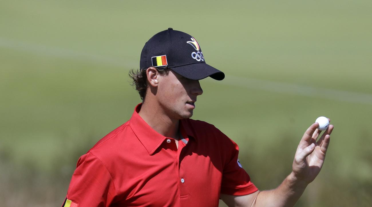 Thomas Pieters of Belgium, birdies on the 15th hole during the final round of the men's golf event at the 2016 Summer Olympics in Rio de Janeiro, Brazil, Sunday, Aug. 14, 2016. (AP Photo/Chris Carlson)