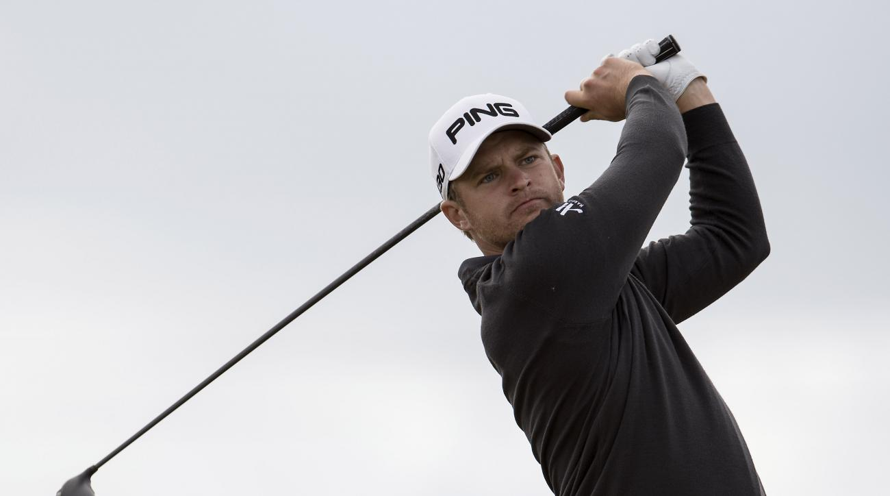 England's Tom Lewis during the third round of the European Tour Golf Tournament in Himmerland, Denmark, Saturday, Aug. 16, 2014. (AP Photo/Rene Schutze, POLFOTO) DENMARK OUT