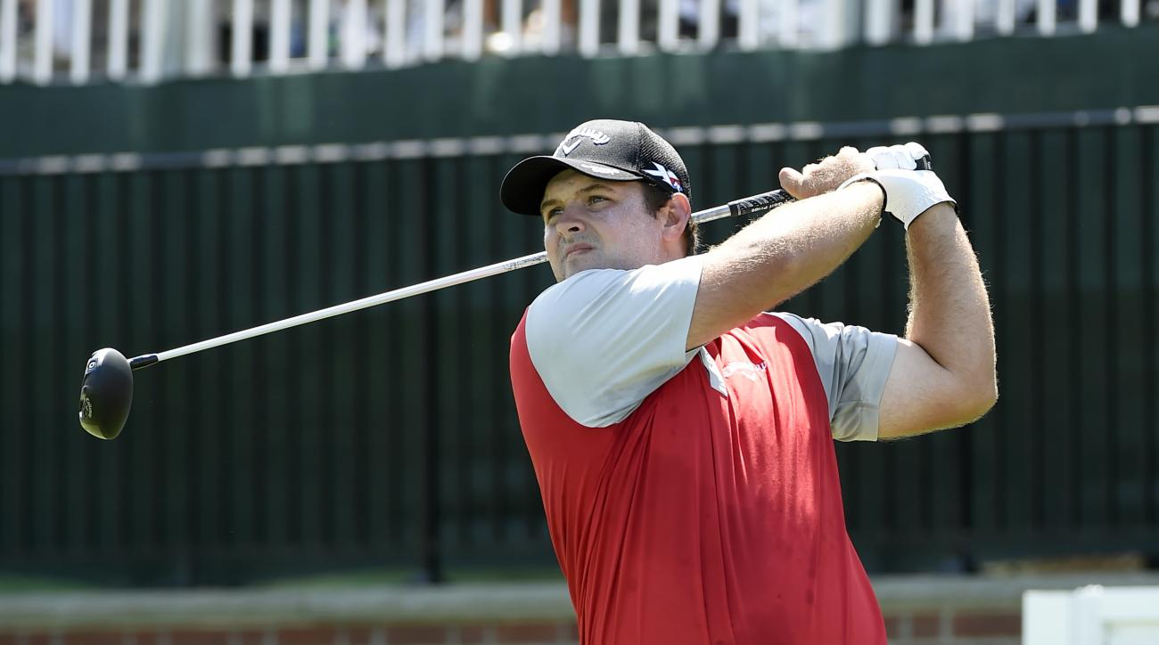 Patrick Reed tees off from the first hole during the second round of The Barclays golf tournament in Farmingdale, N.Y., Friday, Aug. 26, 2016. (AP Photo/Kathy Kmonicek)