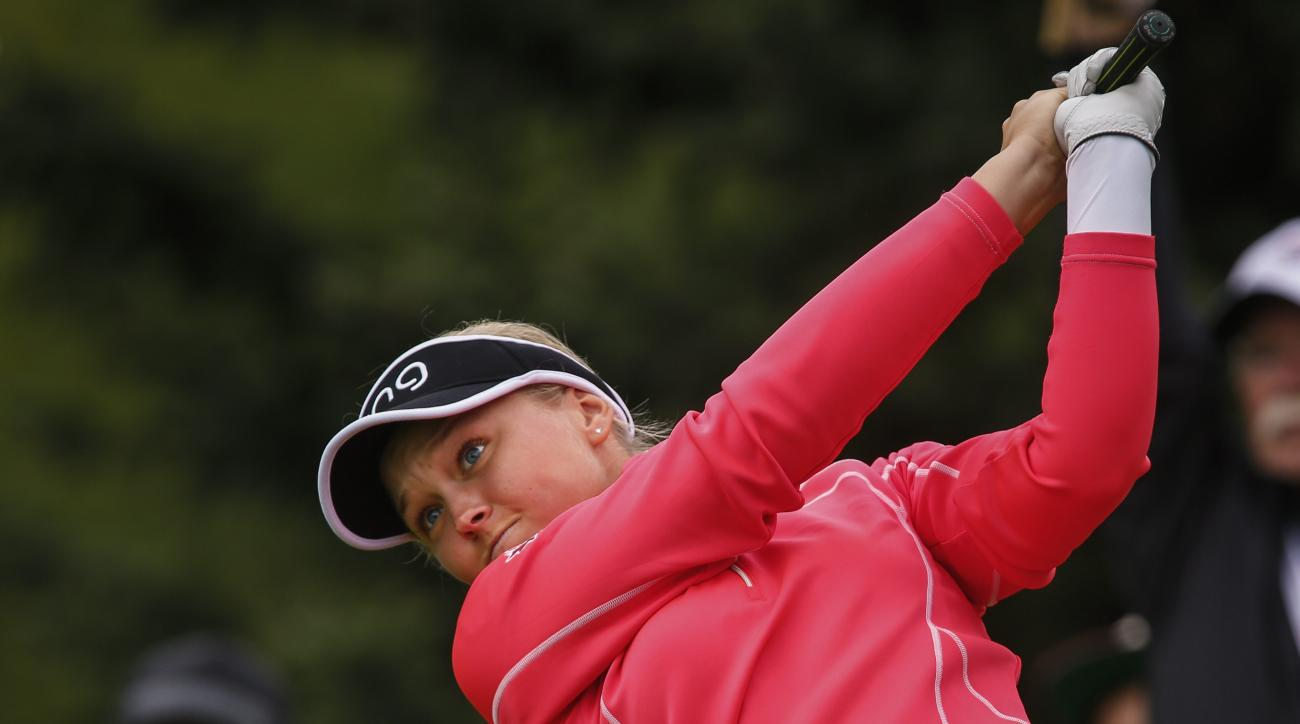 Canada's Brooke Henderson hits a driver from the 12th tee during the third round of the LPGA Canadian Open golf tournament in Priddis, Alberta, Saturday, Aug. 27, 2016. (Jeff McIntosh/The Canadian Press via AP)