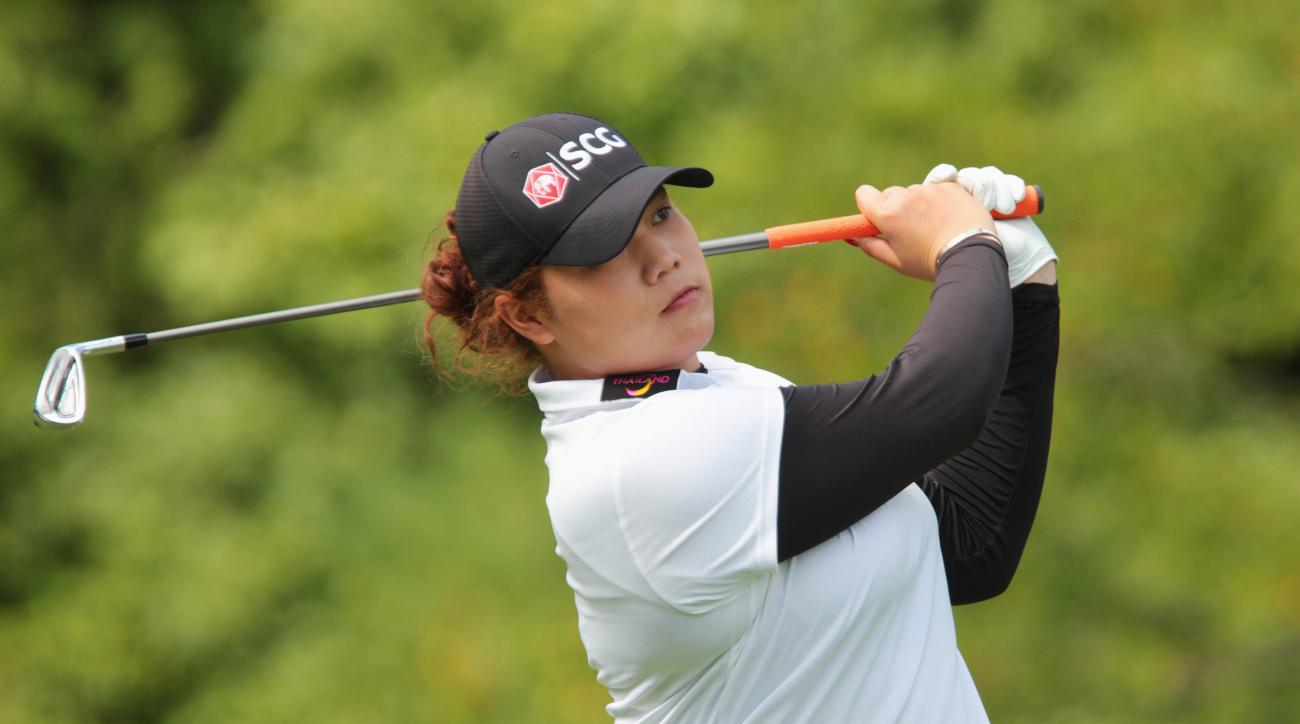 Ariya Jutanugarn, of Thailand, watches her tee shot during the pro-am at the Manulife LPGA Classic golf tournament Wednesday, Aug. 31, 2016, in Cambridge, Ontario. (Dave Chidley/The Canadian Press via AP)