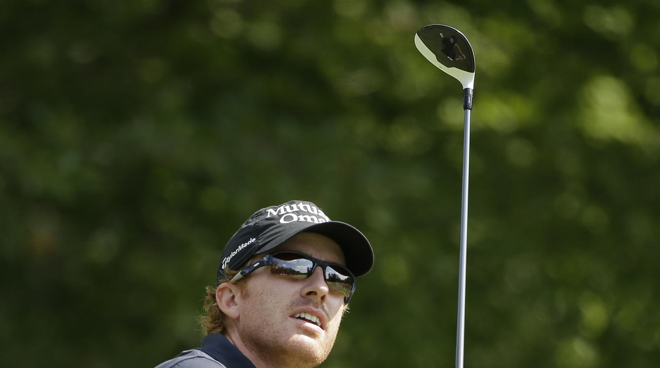 Roberto Castro watches his tee shot on the fourth hole during the third round of the Deutsche Bank Championship golf tournament Sunday, Sept. 4, 2016, in Norton, Mass. (AP Photo/Steven Senne)