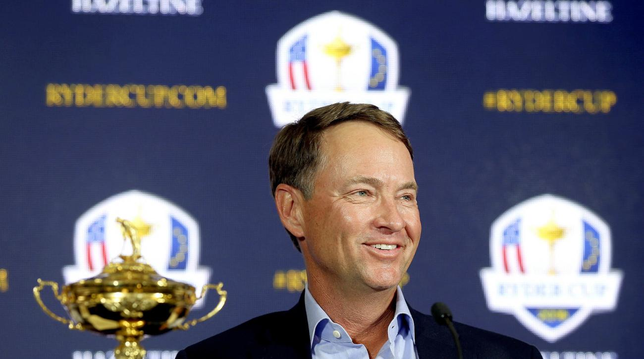 FILE - In this Feb. 24, 2015, file photo, Davis Love III smiles during a news conference introducin him as the 2016 U.S. Ryder Cup captain, at PGA of America in Palm Beach Gardens, Fla. The last Ryder Cup felt like the last straw for the Americans. After