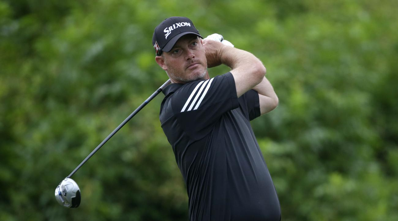 Tag Ridings tees off on the second hole during the second round of the Zurich Classic golf tournament at TPC Louisiana in Avondale, La., Friday, April 25, 2014. (AP Photo/Gerald Herbert)