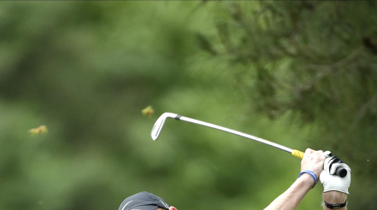 Grayson Murray tees off on the eighth hole during the first round of the U.S. Open golf tournament at Merion Golf Club, Friday, June 14, 2013, in Ardmore, Pa. (AP Photo/Julio Cortez)