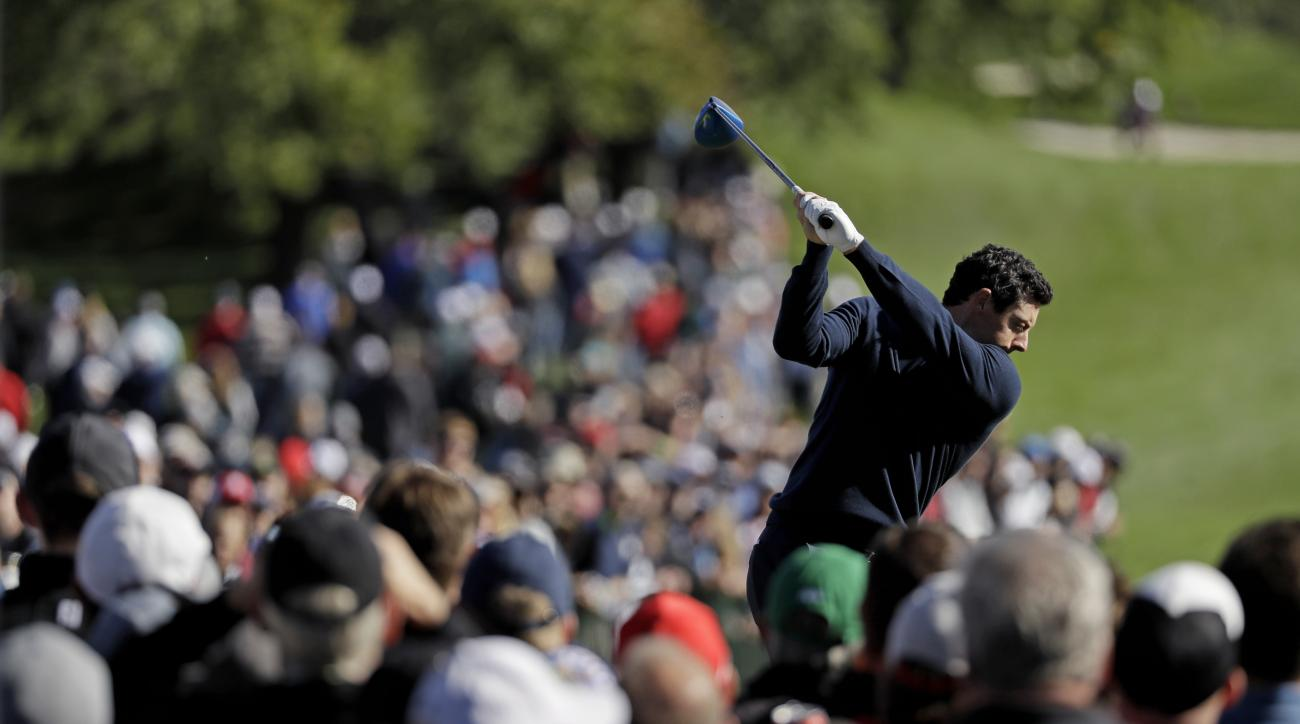 Europe's Rory McIlroy hits a drive on the second hole during a practice round for the Ryder Cup golf tournament Tuesday, Sept. 27, 2016, at Hazeltine National Golf Club in Chaska, Minn. (AP Photo/David J. Phillip)