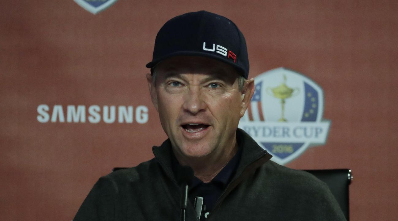 United States captain Davis Love III speaks at a news conference during a practice round for the Ryder Cup golf tournament Wednesday, Sept. 28, 2016, at Hazeltine National Golf Club in Chaska, Minn. (AP Photo/Charlie Riedel)