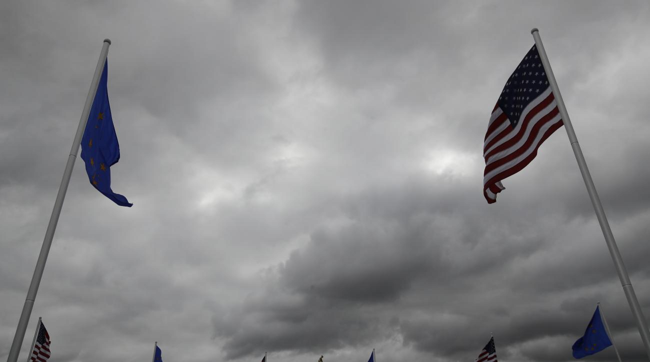 A replica of the Ryder Cup is seen on a cloudy day Wednesday, Sept. 28, 2016, at Hazeltine National Golf Club in Chaska, Minn. (AP Photo/Charlie Riedel)