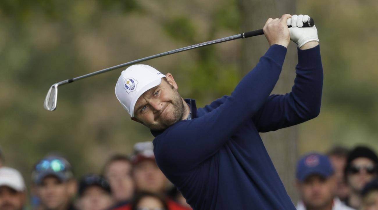 Europes Andy Sullivan hits a shot on the 13th hole during a foresomes match at the Ryder Cup golf tournament Friday, Sept. 30, 2016, at Hazeltine National Golf Club in Chaska, Minn. (AP Photo/David J. Phillip)