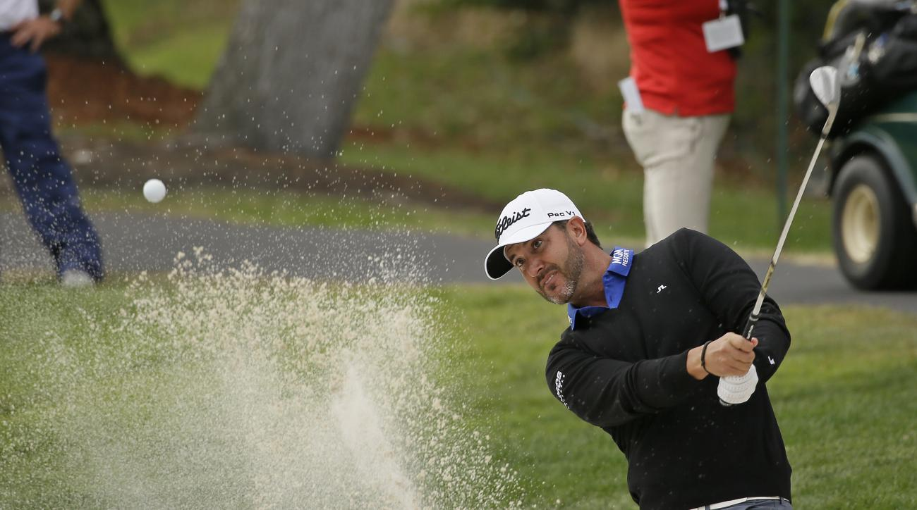 Scott Piercy hits the ball out of a bunker onto the third green of the Silverado Resort North Course during the first round of the Safeway Open golf tournament Thursday, Oct. 13, 2016, in Napa, Calif. (AP Photo/Eric Risberg)