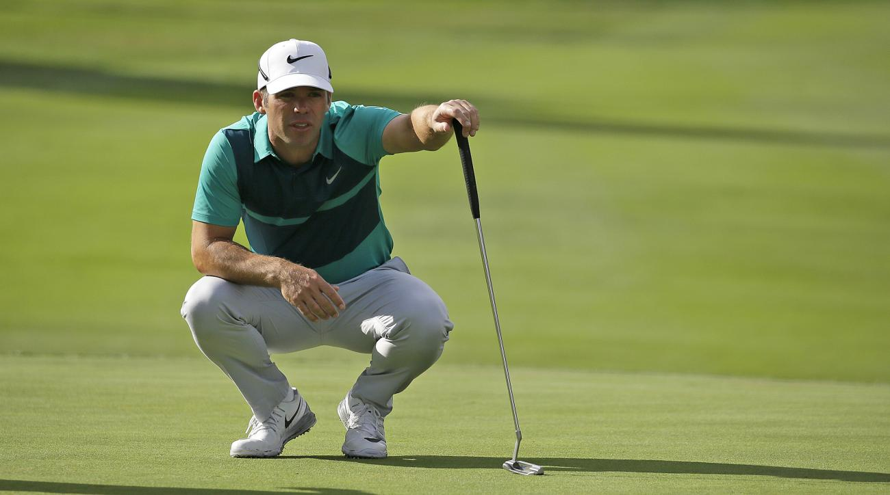Paul Casey, of England, reads the first green of the Silverado Resort North Course during the first round of the Safeway Open golf tournament Thursday, Oct. 13, 2016, in Napa, Calif. (AP Photo/Eric Risberg)
