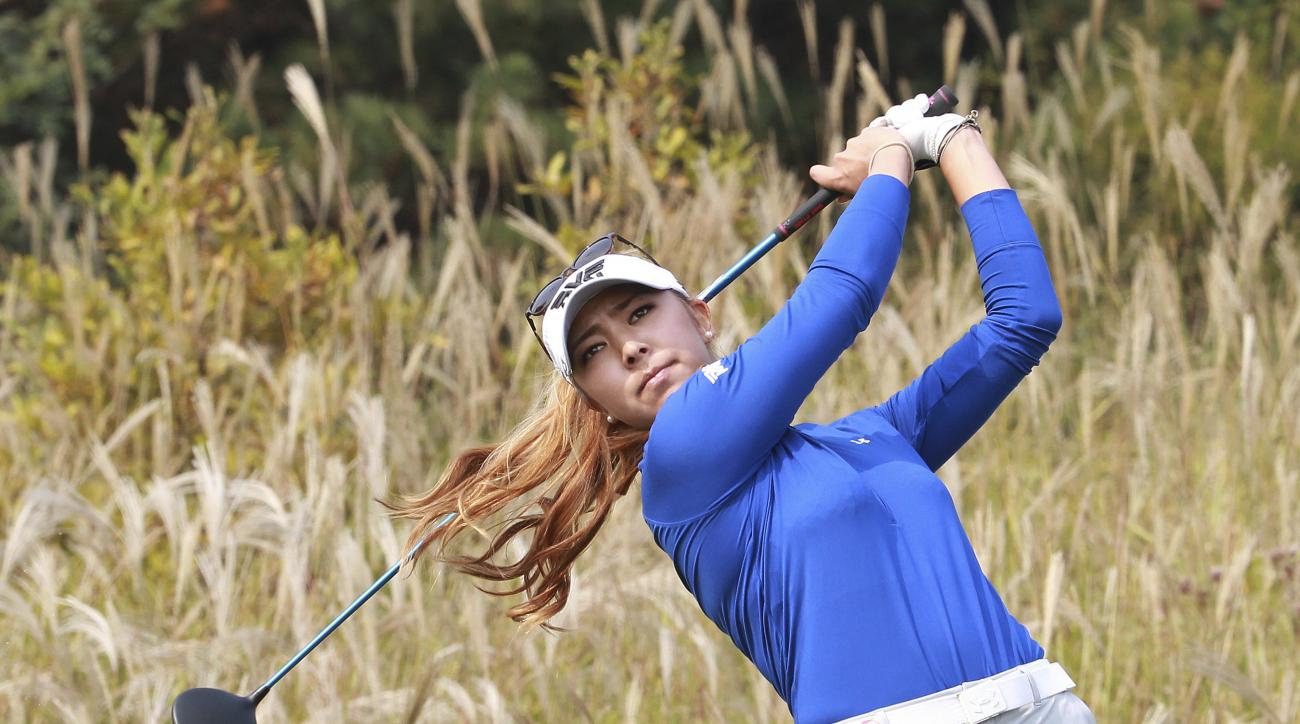 Alison Lee of the United States watches her shot on the 9th hole during the second round of the LPGA KEB HanaBank Championship 2016 tournament at Sky72 Golf Club in Incheon, South Korea, Friday, Oct. 14, 2016. (AP Photo/Ahn Young-joon)