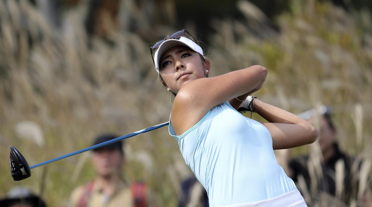 Alison Lee of the United States watches her tee shot on the 9th hole during the third round of the LPGA KEB Hana Bank Championship at Sky72 Golf Club in Incheon, South Korea, Saturday, Oct. 15, 2016. (AP Photo/Lee Jin-man)