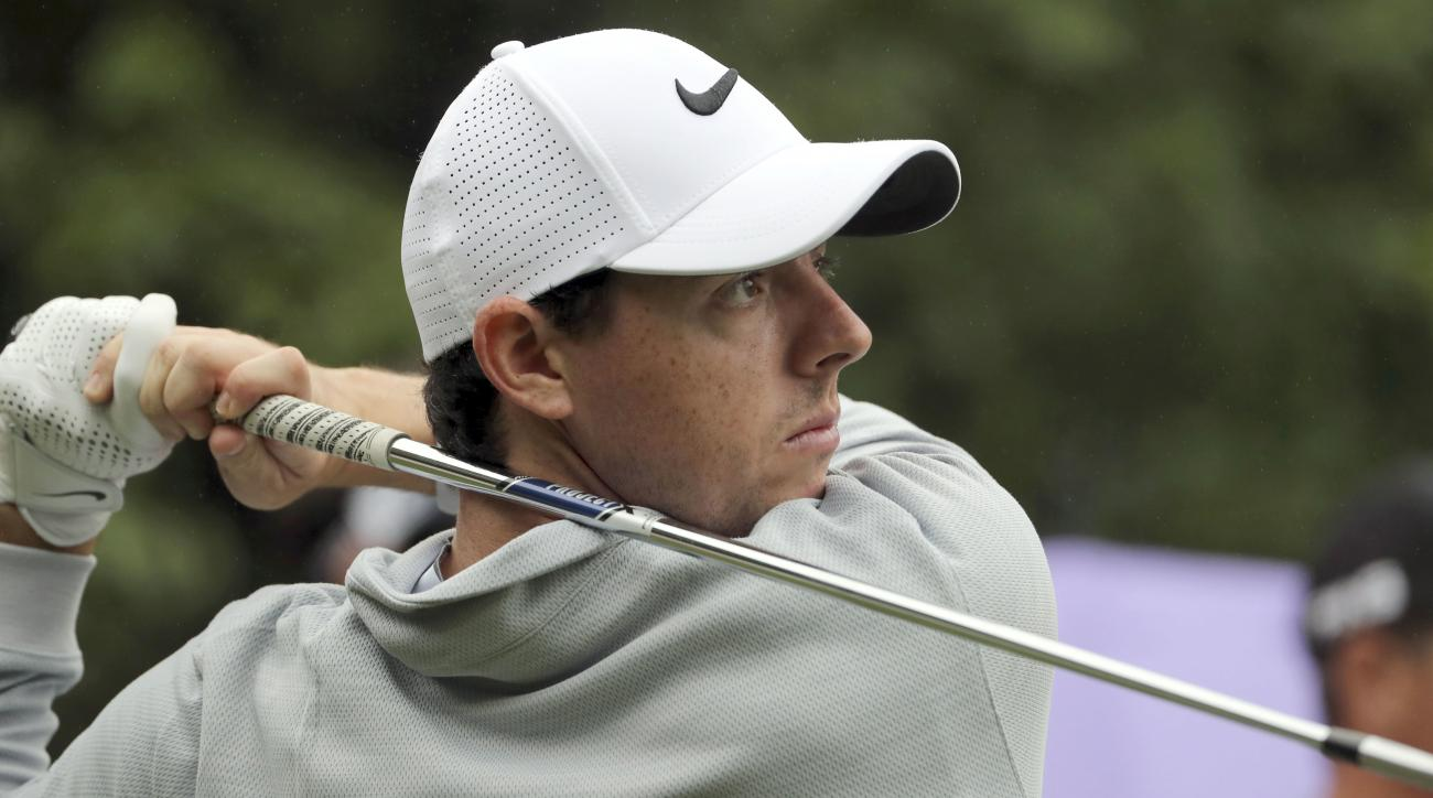 Rory McIlroy of Northern Ireland hits a tee shot during the WGC-HSBC Champions golf tournament at the Sheshan International Golf Club in Shanghai, China, Thursday, Oct. 27, 2016. (AP Photo/Ng Han Guan)