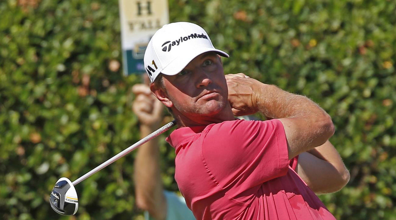 Lucas Glover stares down the fairway after his tee shot on the first hole during the third round of the Sanderson Farms Championship golf tournament in Jackson, Miss., Saturday, Oct. 29, 2016. (AP Photo/Rogelio V. Solis)
