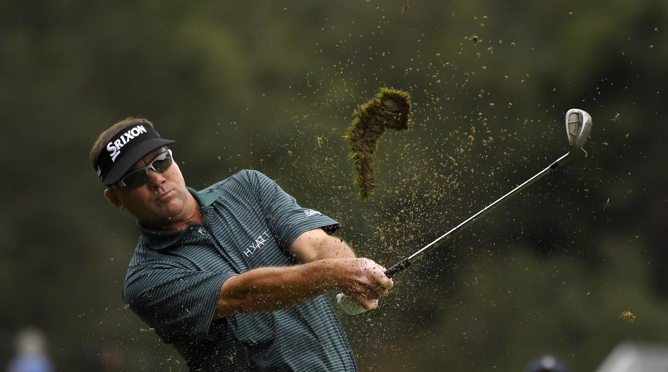 Brandt Jobe hits his approach shot on the first hole during the second round of the PowerShares QQQ Championship golf tournament, Saturday, Oct. 29, 2016, at Sherwood Country Club in Thousand Oaks, Calif. (AP Photo/Mark J. Terrill)