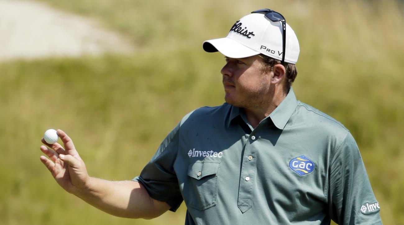 George Coetzee, of South Africa, on the 18th hole during the second round of the PGA Championship golf tournament Friday, Aug. 14, 2015, at Whistling Straits in Haven, Wis. (AP Photo/Chris Carlson)