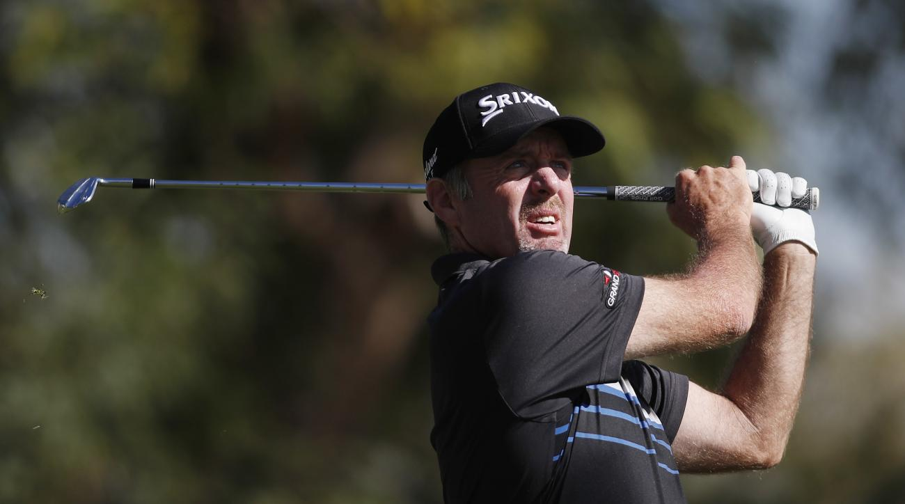 Rod Pampling, of Australia, hits a tee shot on the fifth hole during the final round of the Shriners Hospitals for Children Open golf tournament Sunday, Nov. 6, 2016, in Las Vegas. (AP Photo/Isaac Brekken)