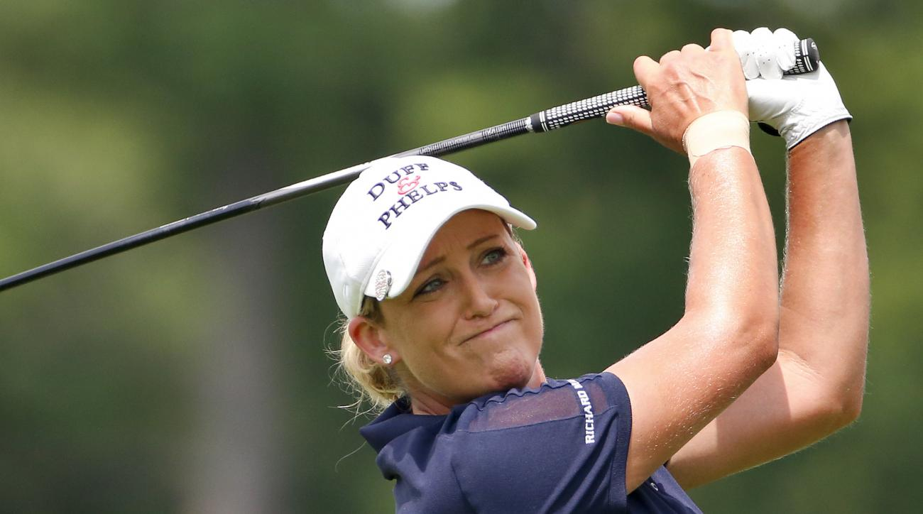 FILE - In this Thursday, July 9, 2015 file photo, Cristie Kerr tees off the 14th hole during the first round of the U.S. Women's Open golf tournament at Lancaster Country Club in Lancaster, Pa. Kerr was a supporter of President-elect Donald Trump in this