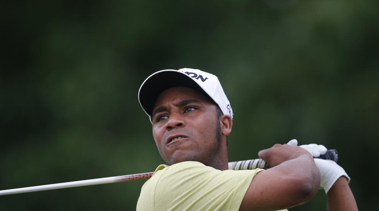 FILE - In this May 2, 2016, file photo, Harold Varner III tees off the 18th hole during the final round of the PGA Zurich Classic golf tournament at TPC Louisiana in Avondale, La. Varner held on to win the Australian PGA Championship in Gold Coast, Austra