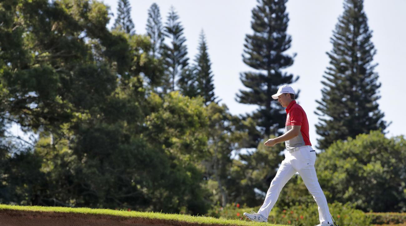 Jordan Spieth walks up the third fairway during the second round of the Tournament of Champions golf event, Friday, Jan. 6, 2017, at Kapalua Plantation Course in Kapalua, Hawaii. (AP Photo/Matt York)