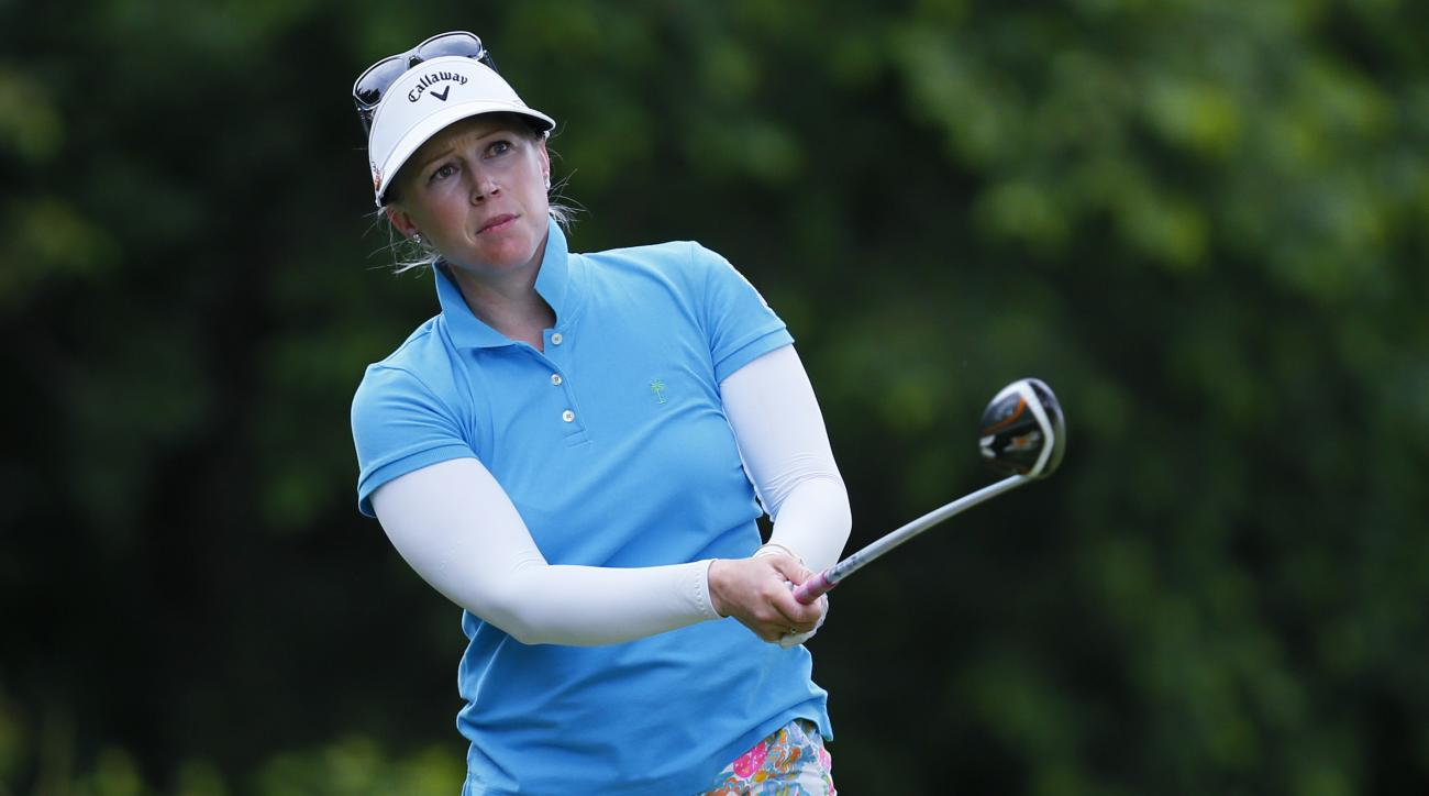 FILE - In this July 16, 2015, file photo, Morgan Pressel watches her tee shot on the ninth hole during the first round of the Marathon Classic golf tournament at Highland Meadows Golf Club in Sylvania, Ohio. Pressel raised $1 million for the second straig