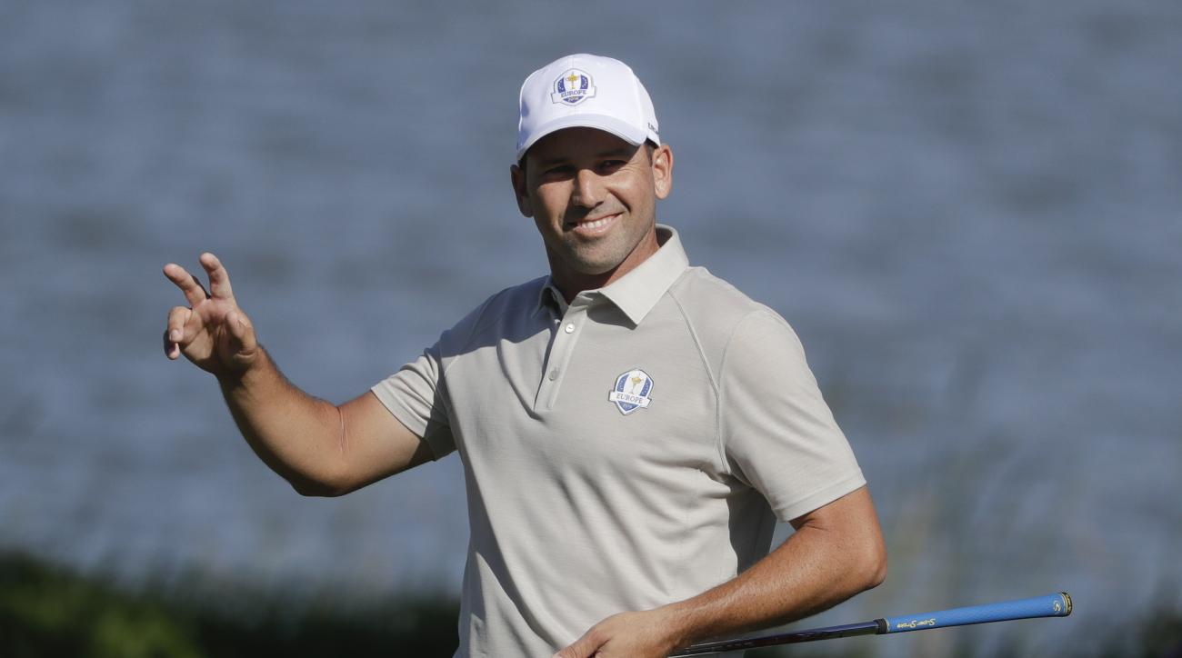 FILE- In this Saturday, Oct. 1, 2016 file photo, Spanish golfer Sergio Garcia reacts after making a birdie on the seventh hole during a four-ball match at the Ryder Cup golf tournament, at Hazeltine National Golf Club in Chaska, Minn. For more than 200 da
