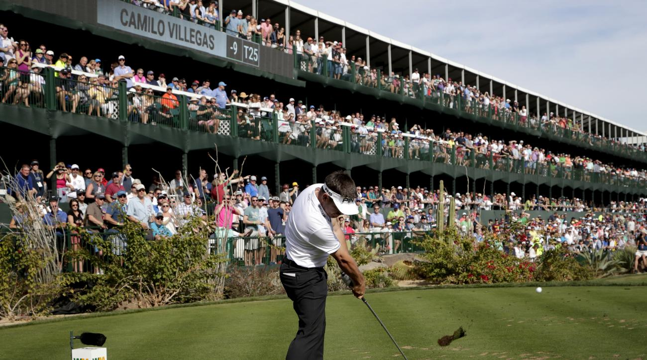 Louis Oosthuizen hits from the 16th tee during the final round of the Waste Management Phoenix Open golf tournament, Sunday, Feb. 5, 2017, in Scottsdale, Ariz. (AP Photo/Matt York)