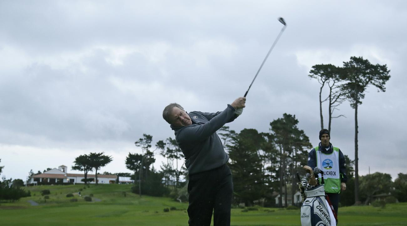 New England Patriots head coach Bill Belichick follows his shot from off the first fairway of the Monterey Peninsula Country Club Shore Course during the first round of the AT&T Pebble Beach National Pro-Am golf tournament Thursday, Feb. 9, 2017, in Pebbl