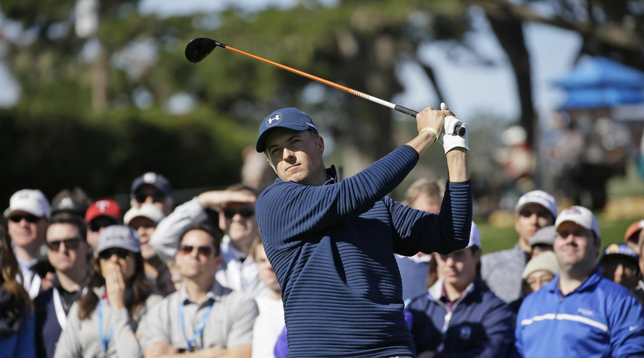 Jordan Spieth follows his drive from the fourth tee of the Pebble Beach Golf Links during the final round of the AT&T Pebble Beach National Pro-Am golf tournament Sunday, Feb. 12, 2017, in Pebble Beach, Calif. (AP Photo/Eric Risberg)