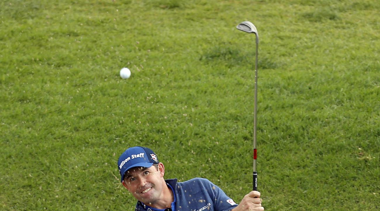 Padraig Harrington hits from the bunker on the second hole during the third round of the Genesis Open golf tournament at Riviera Country Club, Saturday, Feb. 18, 2017, in the Pacific Palisades area of Los Angeles. (AP Photo/Ryan Kang)