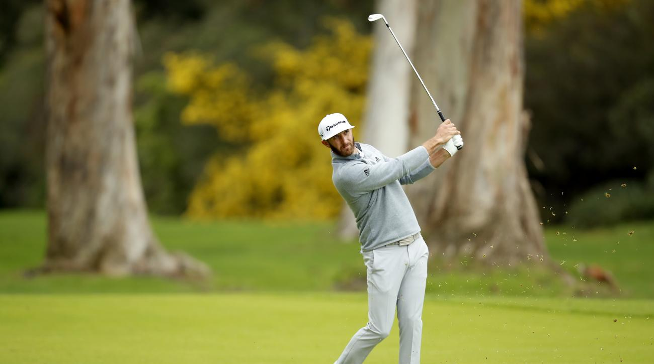 Dustin Johnson follows his shot from the fairway on the 13th hole during the third round of the Genesis Open golf tournament at Riviera Country Club, Sunday, Feb. 19, 2017, in the Pacific Palisades area of Los Angeles. (AP Photo/Ryan Kang)