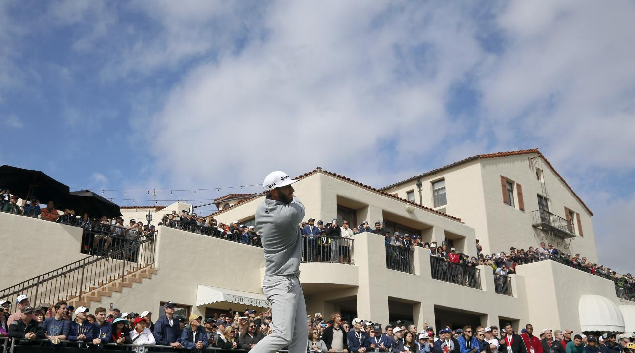 Dustin Johnson tees off on the first hole during the final round of the Genesis Open golf tournament at Riviera Country Club, Sunday, Feb. 19, 2017, in the Pacific Palisades area of Los Angeles. (AP Photo/Ryan Kang)