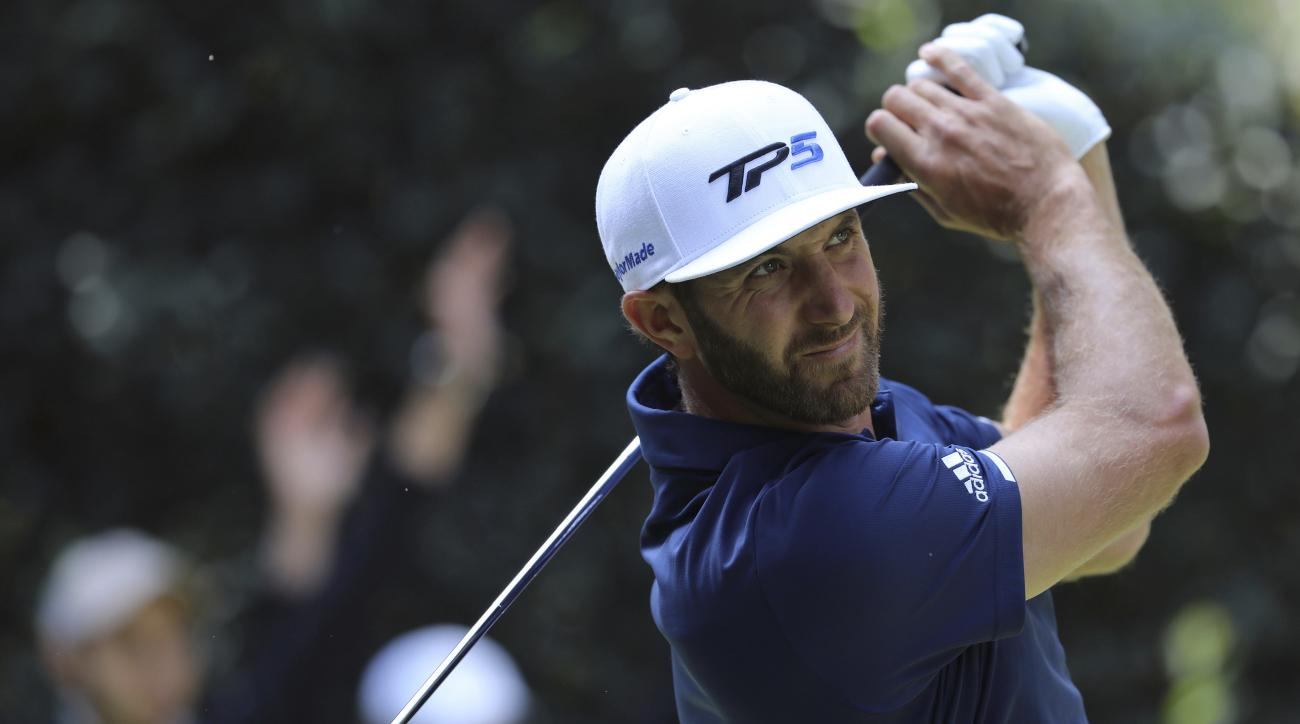 Dustin Johnson, of the United States, tees off on the 5th hole during the final round of the Mexico Championship at Chapultepec Golf Club in Mexico City, Sunday, March 5, 2017. All but one of the world's top 50 golfers are contesting the World Golf Champi