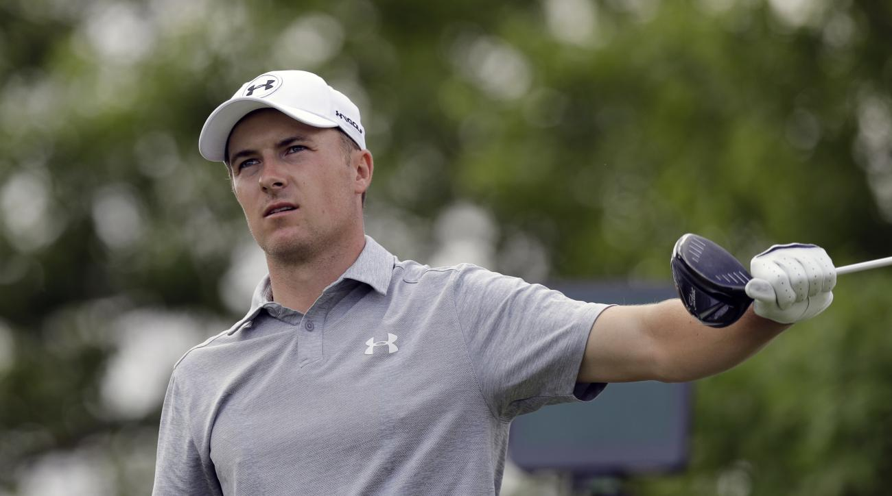 Jordan Spieth gestures as his tee shot goes left on the sixth hole during round-robin play at the Dell Technologies Match Play golf tournament at Austin County Club, Wednesday, March 22, 2017, in Austin, Texas. (AP Photo/Eric Gay)