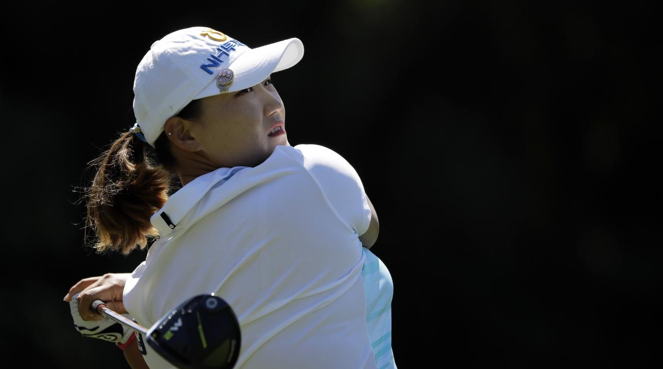 Mirim Lee, of South Korea, watches her tee shot on the second hole during the final round of the Kia Classic LPGA golf tournament Sunday, March 26, 2017, in Carlsbad, Calif. (AP Photo/Gregory Bull)