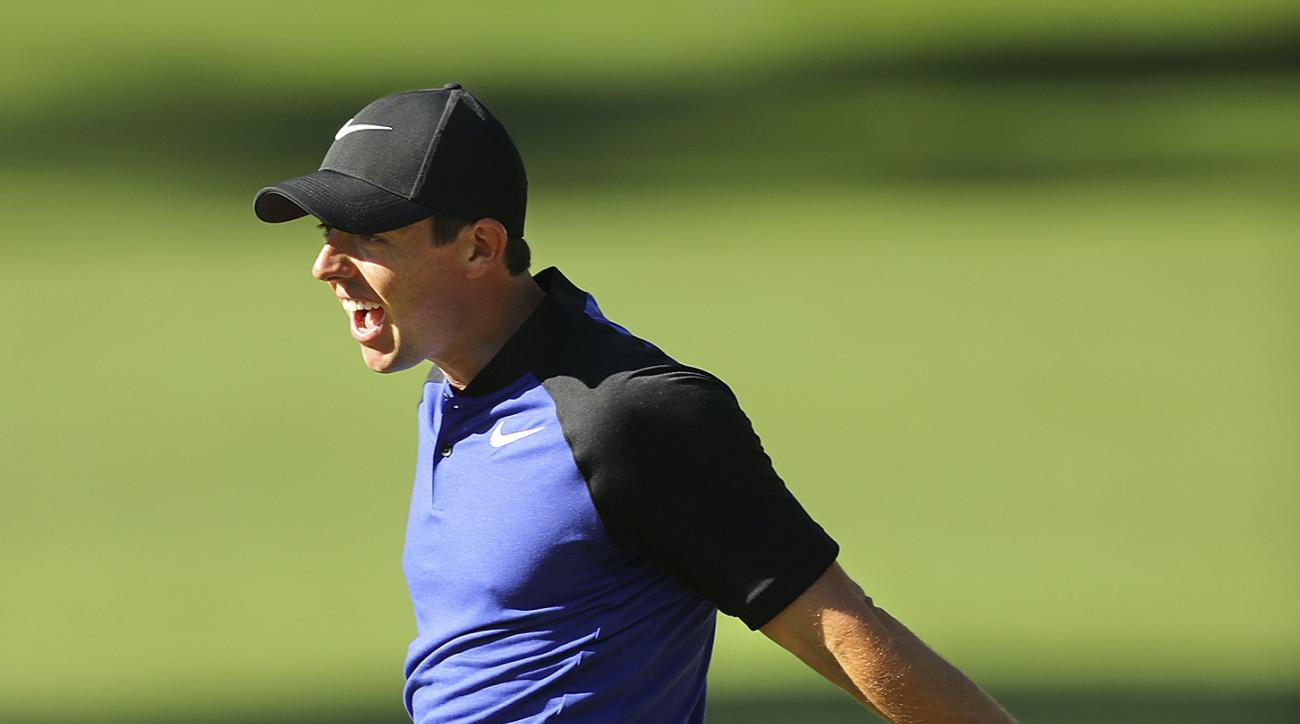 Rory McIlroy reacts to his birdie putt attempt on the sixth green during a practice round at the Masters golf tournament, Tuesday, April 4, 2017, in Augusta, Ga. (Curtis Compton/Atlanta Journal-Constitution via AP)