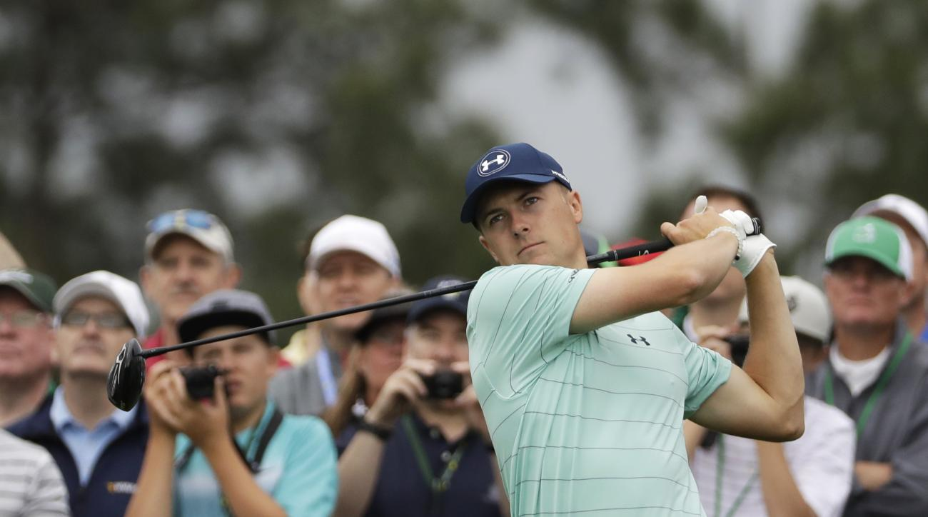 Jordan Spieth hits on the eighth tee during a practice round for the Masters golf tournament Wednesday, April 5, 2017, in Augusta, Ga. (AP Photo/David J. Phillip)